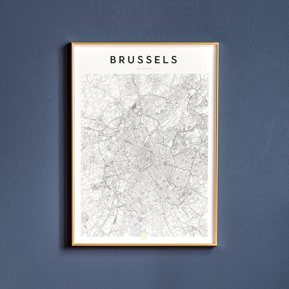 Brussels, Belgium map poster