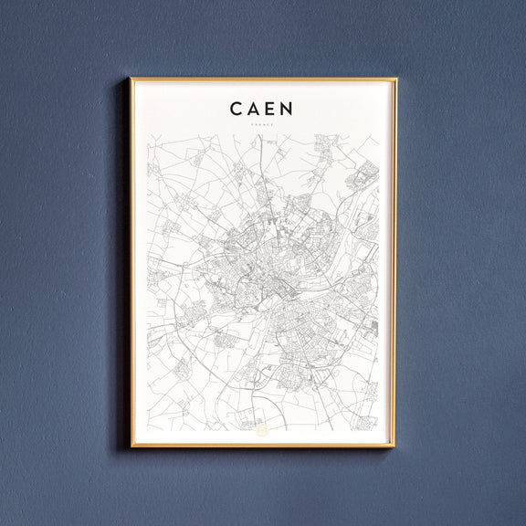 Caen, France map poster