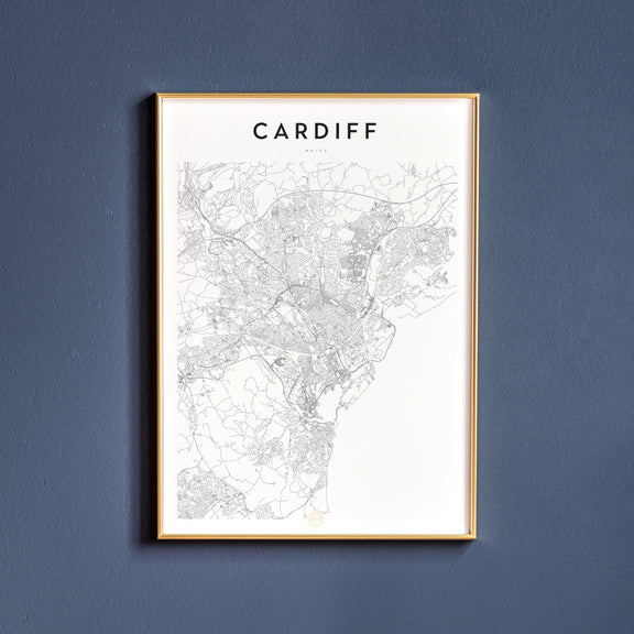 Cardiff, Wales map poster