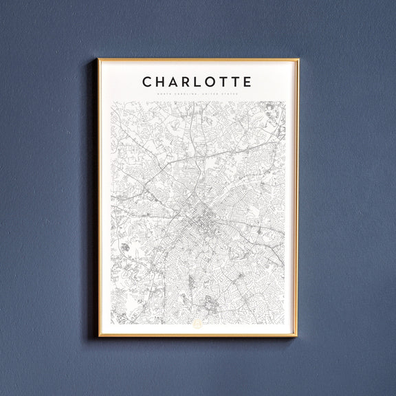Charlotte, North Carolina map poster