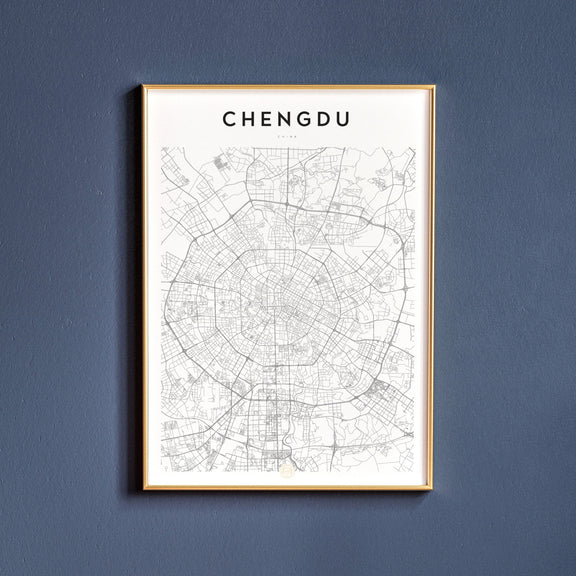 Chengdu, China map poster