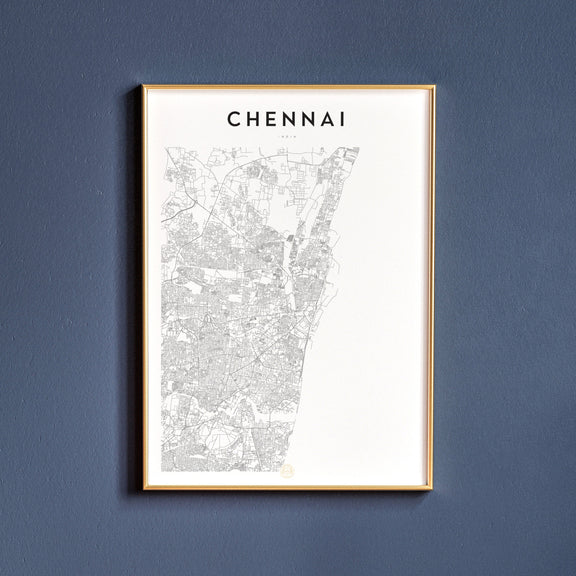 Chennai, India map poster