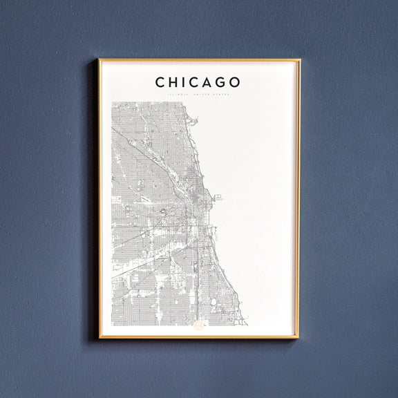Chicago, Illinois map poster