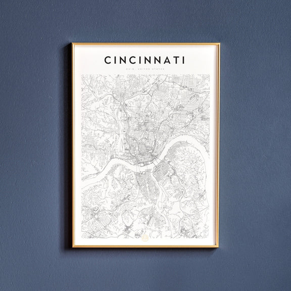 Cincinnati, Ohio map poster