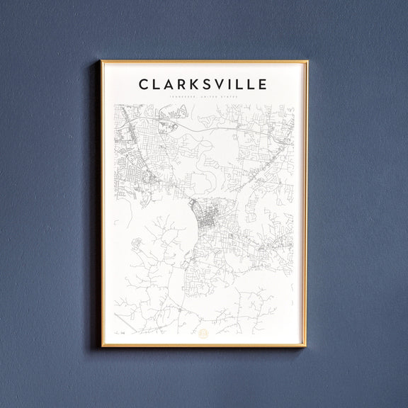 Clarksville, Tennessee map poster