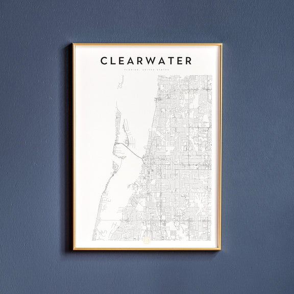 Clearwater, Florida map poster