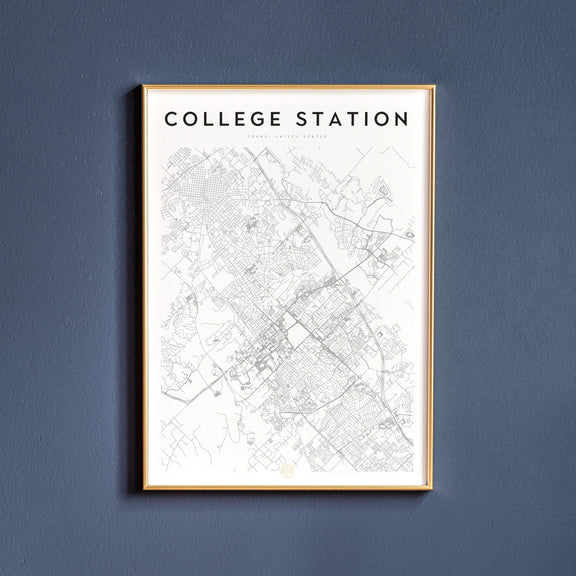 College Station, Texas map poster