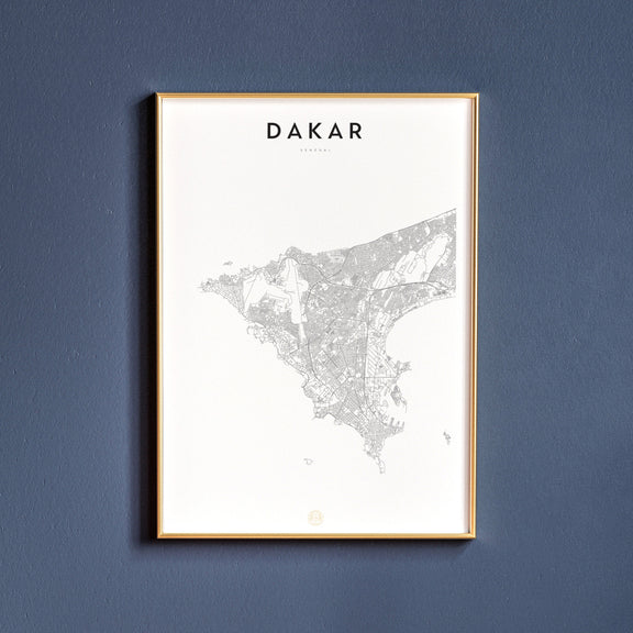 Dakar, Senegal map poster