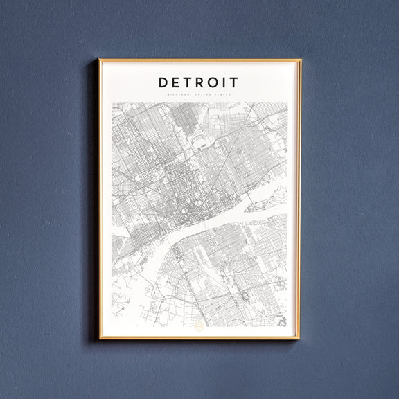Detroit, Michigan map poster