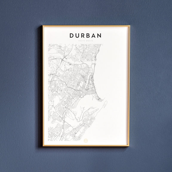 Durban, South Africa map poster