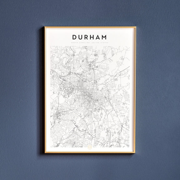 Durham, North Carolina map poster