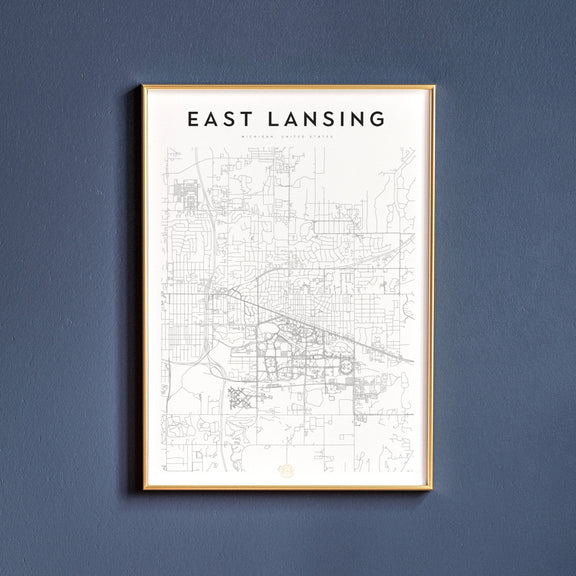 East Lansing, Michigan map poster