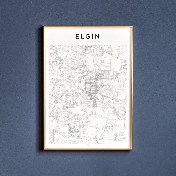Elgin, Illinois map poster