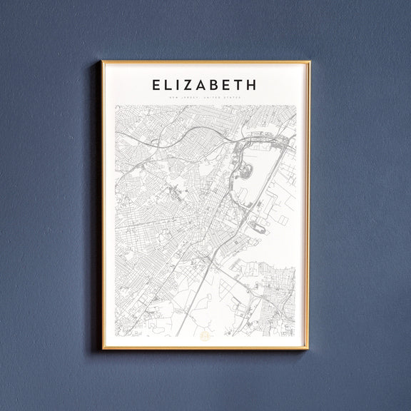 Elizabeth, New Jersey map poster