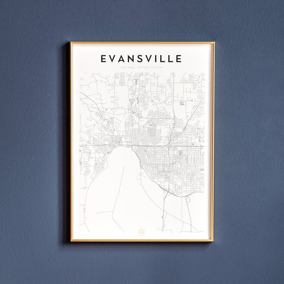 Evansville, Indiana map poster