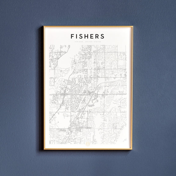 Fishers, Indiana map poster
