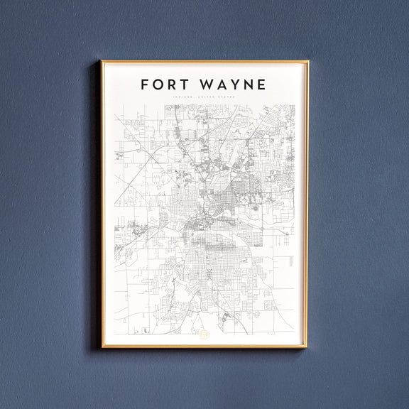 Fort Wayne, Indiana map poster