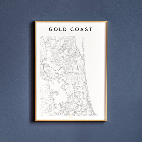Gold Coast, Queensland map poster