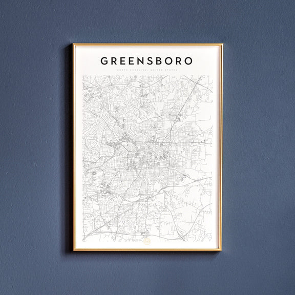 Greensboro, North Carolina map poster