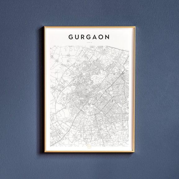 Gurgaon, India map poster