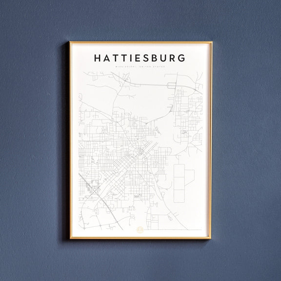 Hattiesburg, Mississippi map poster