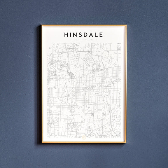 Hinsdale, Illinois map poster