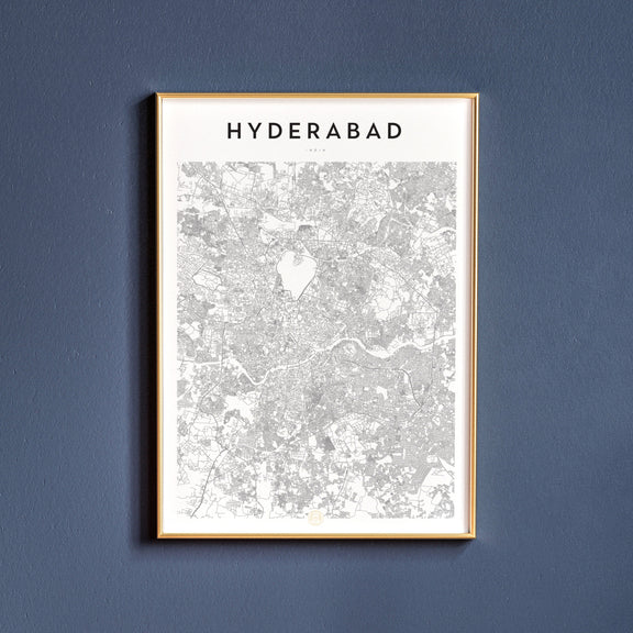 Hyderabad, India map poster