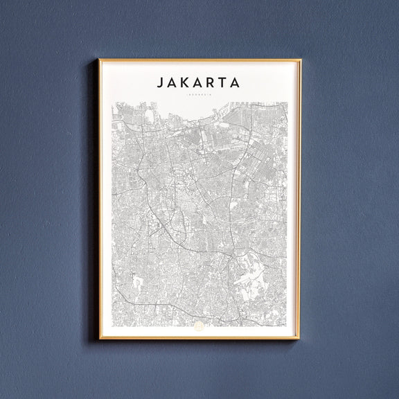 Jakarta, Indonesia map poster