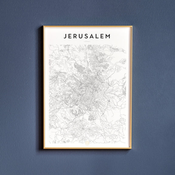 Jerusalem, Israel map poster