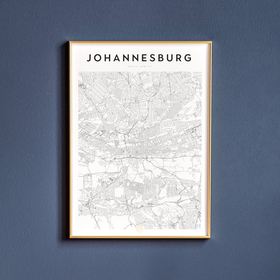 Johannesburg, South Africa map poster