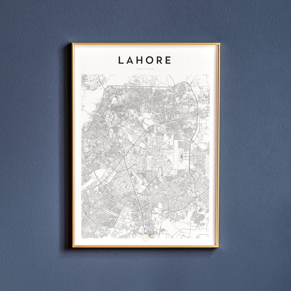 Lahore, Pakistan map poster