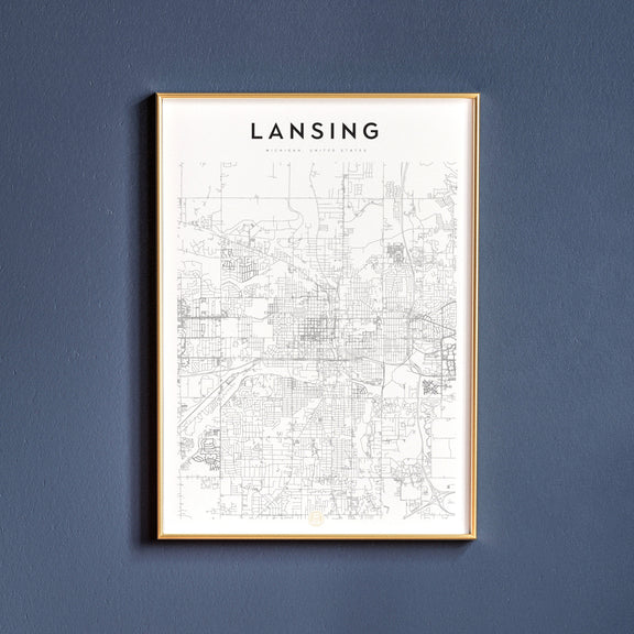 Lansing, Michigan map poster
