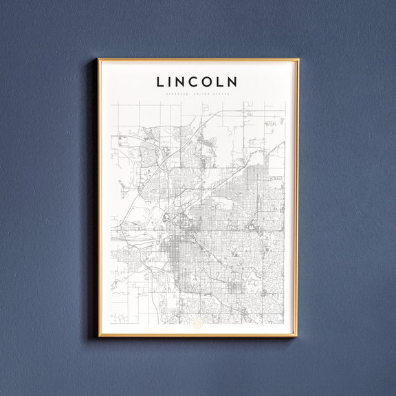 Lincoln, Nebraska map poster
