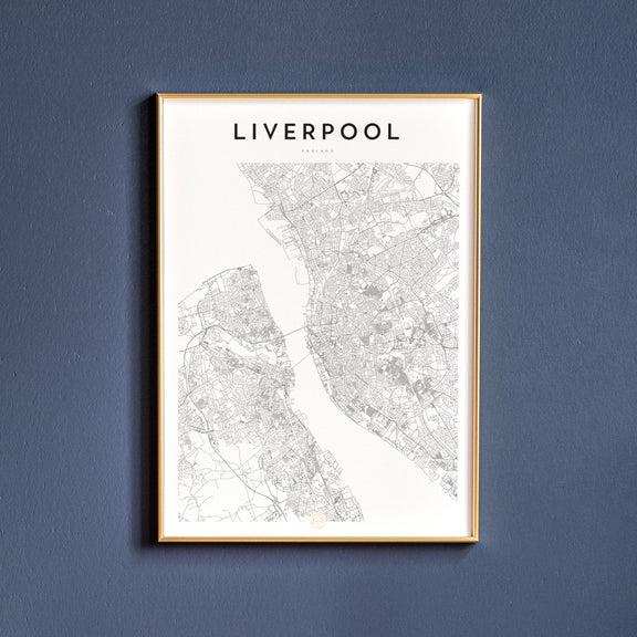 Liverpool, England map poster