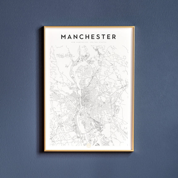 Manchester, New Hampshire map poster
