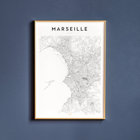 Marseille, France map poster