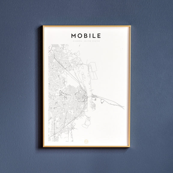 Mobile, Alabama map poster