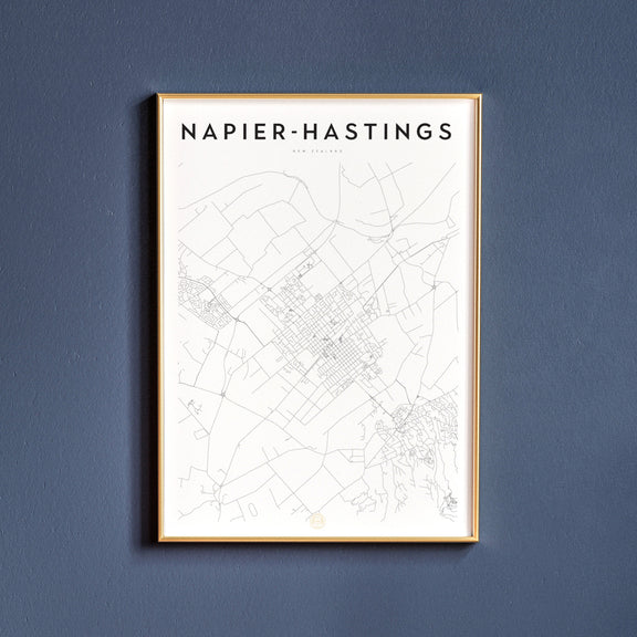 Napier-Hastings, New Zealand map poster