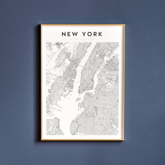 New York, New York map poster