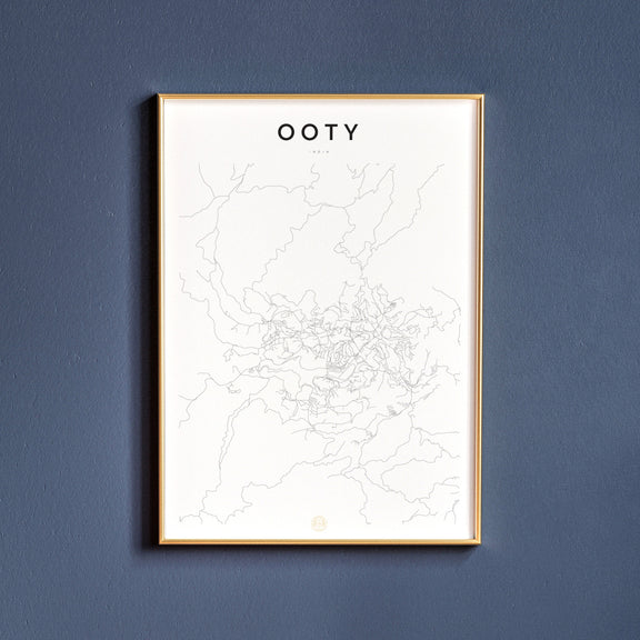 Ooty, India map poster
