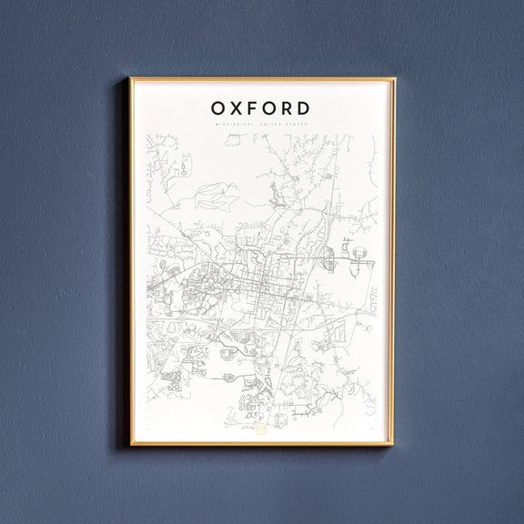 Oxford, Mississippi map poster