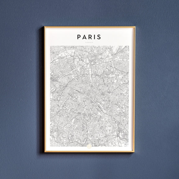 Paris, France map poster