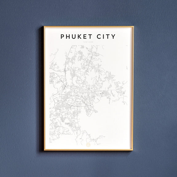 Phuket City, Thailand map poster