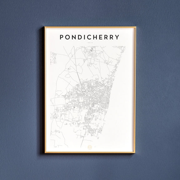 Pondicherry, India map poster