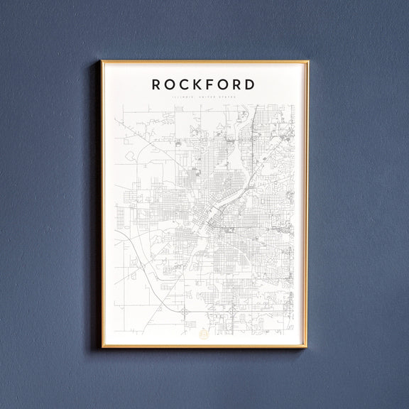 Rockford, Illinois map poster