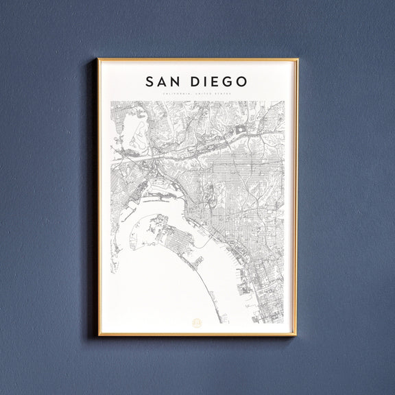 San Diego, California map poster