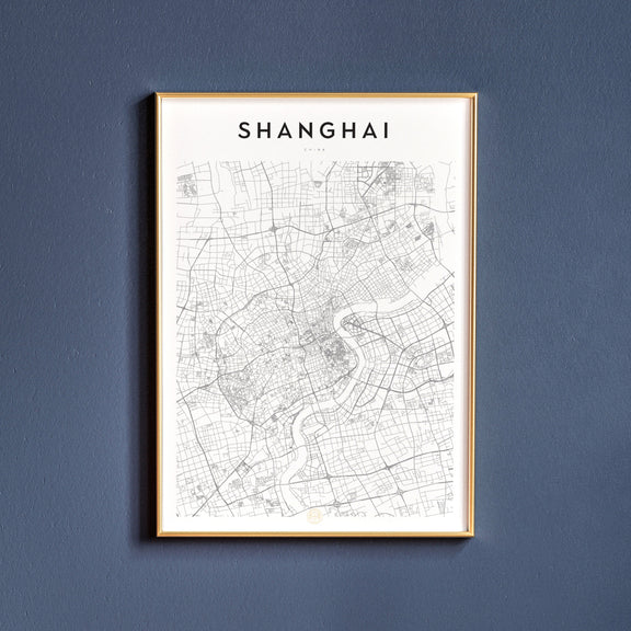 Shanghai, China map poster
