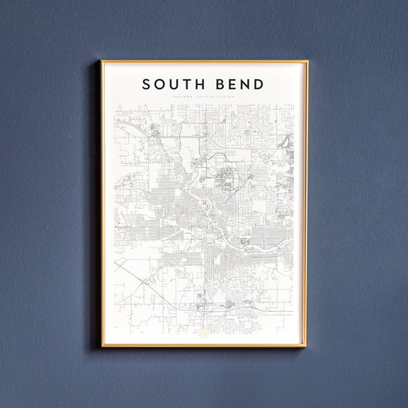 South Bend, Indiana map poster