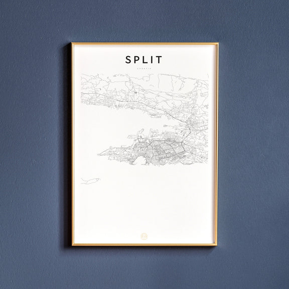 Split, Croatia map poster