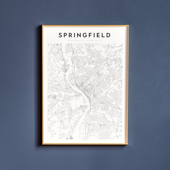 Springfield, Massachusetts map poster